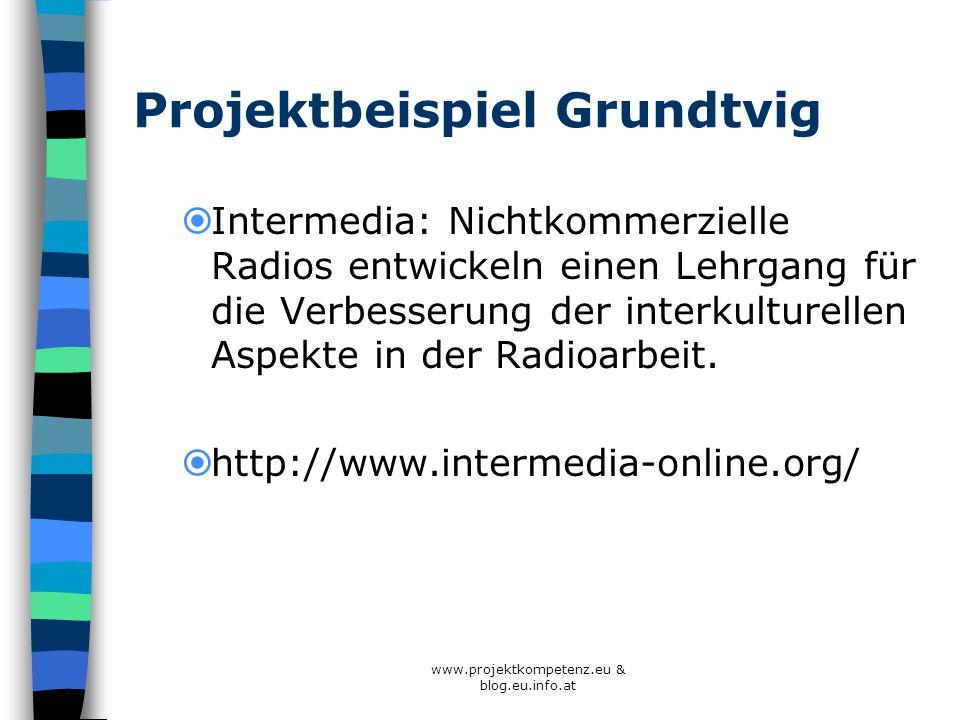 www.projektkompetenz.eu & blog.eu.info.at Projektbeispiel Grundtvig Intermedia: Nichtkommerzielle Radios entwickeln einen Lehrgang für die Verbesserun