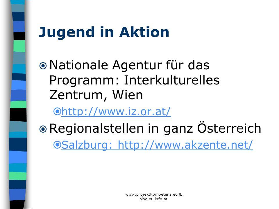 Jugend in Aktion Nationale Agentur für das Programm: Interkulturelles Zentrum, Wien http://www.iz.or.at/ Regionalstellen in ganz Österreich Salzburg: