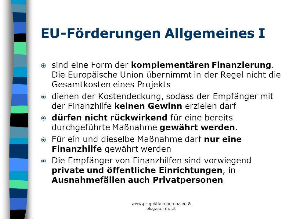 EU-Förderungen Allgemeines II Die Gewährung von Finanzhilfen erfolgt nicht von Fall zu Fall, sondern auf der Grundlage einer Programmplanung Aufforderungen zur Einreichung von Vorschlägen (Call) BewerberInnen müssen innerhalb einer bestimmten Frist (Deadline) einen Vorschlag für ein Projekt einreichen, der den angestrebten Zielen entspricht und die geltenden Voraussetzungen erfüllt.