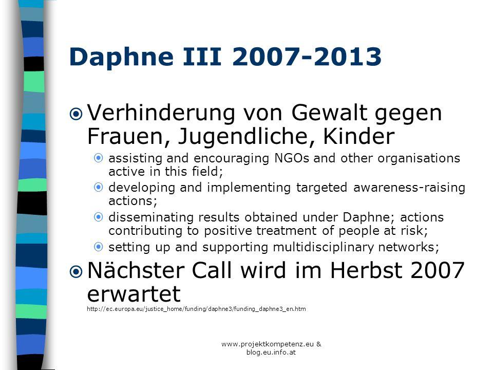 Daphne III 2007-2013 Verhinderung von Gewalt gegen Frauen, Jugendliche, Kinder assisting and encouraging NGOs and other organisations active in this f
