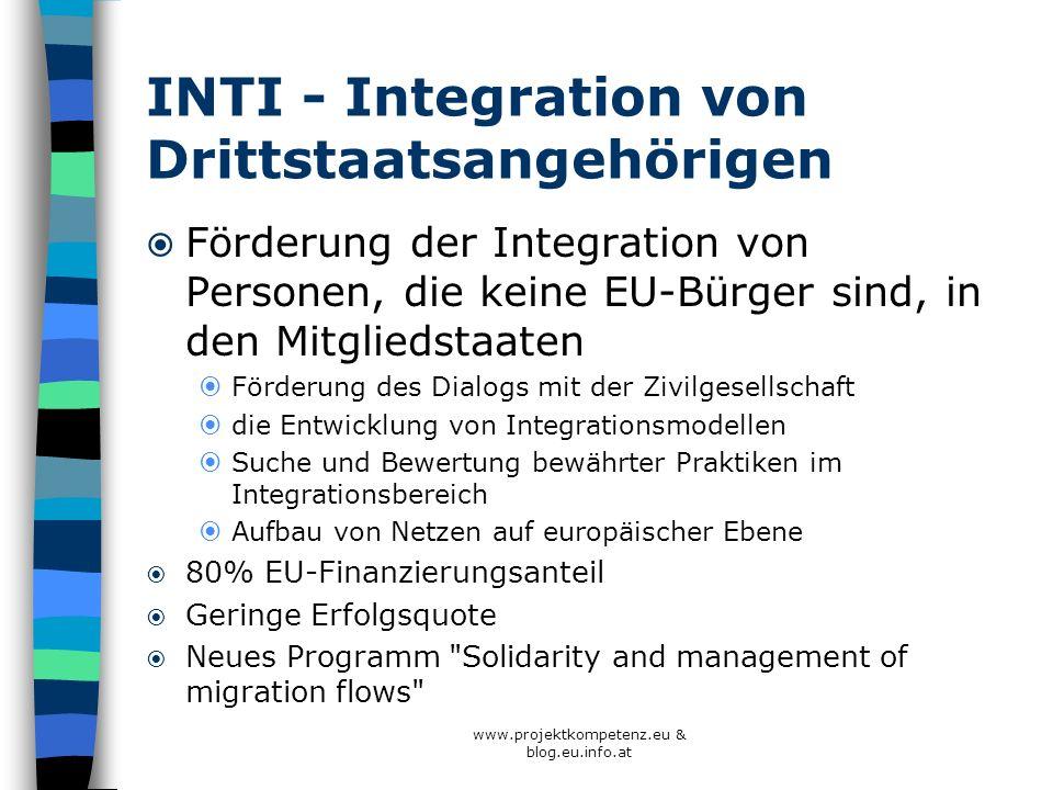 INTI - Integration von Drittstaatsangehörigen Förderung der Integration von Personen, die keine EU-Bürger sind, in den Mitgliedstaaten Förderung des D