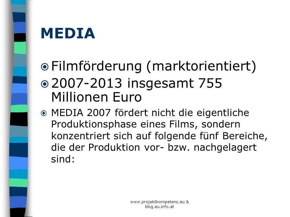 MEDIA Filmförderung (marktorientiert) 2007-2013 insgesamt 755 Millionen Euro MEDIA 2007 fördert nicht die eigentliche Produktionsphase eines Films, so