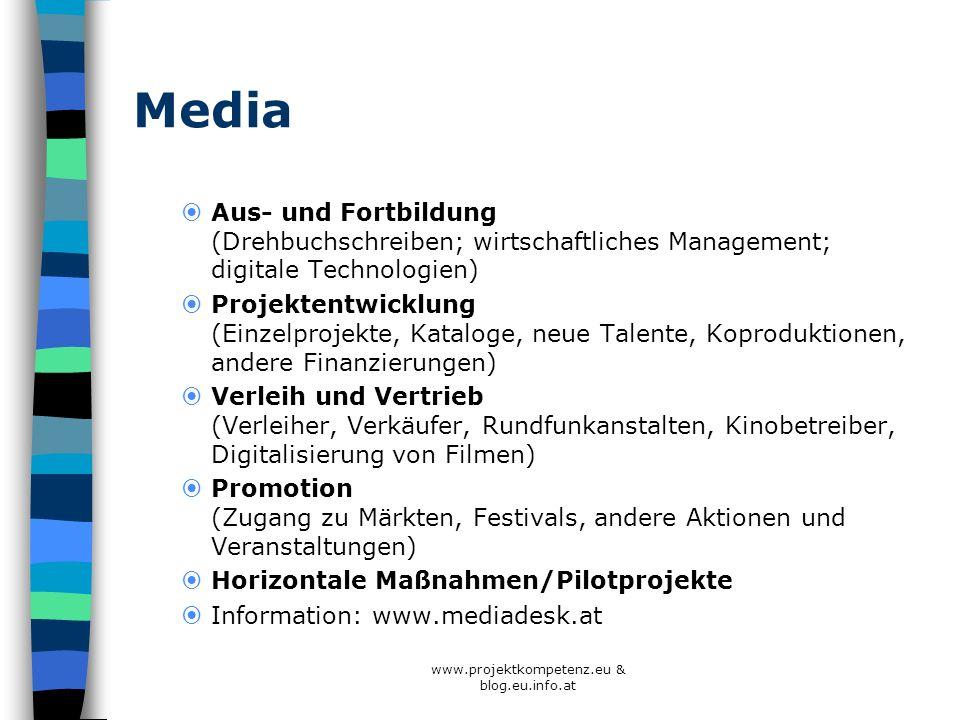 Media Aus- und Fortbildung (Drehbuchschreiben; wirtschaftliches Management; digitale Technologien) Projektentwicklung (Einzelprojekte, Kataloge, neue