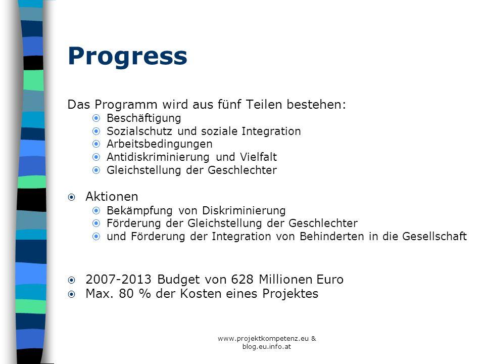 www.projektkompetenz.eu & blog.eu.info.at Progress Das Programm wird aus fünf Teilen bestehen: Beschäftigung Sozialschutz und soziale Integration Arbe