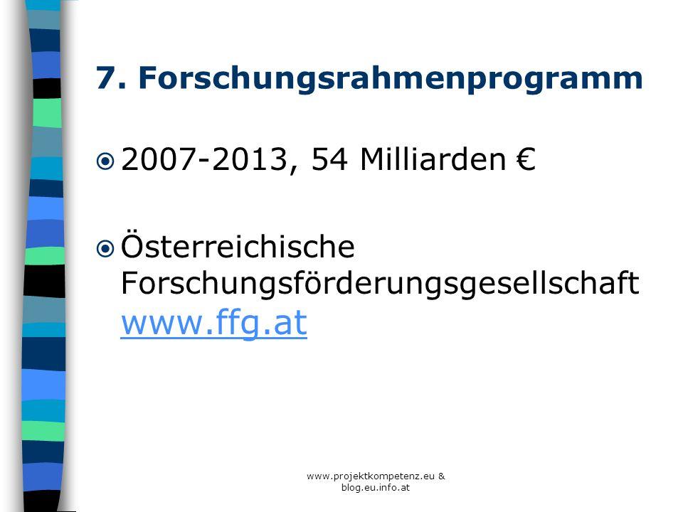 7. Forschungsrahmenprogramm 2007-2013, 54 Milliarden Österreichische Forschungsförderungsgesellschaft www.ffg.at www.ffg.at