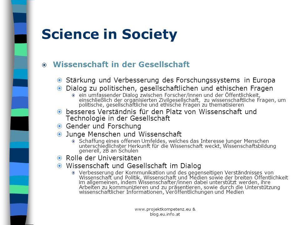 Science in Society Wissenschaft in der Gesellschaft Stärkung und Verbesserung des Forschungssystems in Europa Dialog zu politischen, gesellschaftliche
