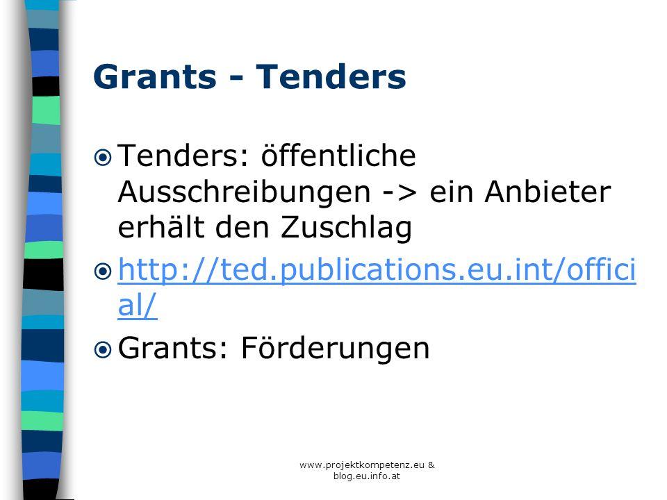 www.projektkompetenz.eu & blog.eu.info.at Grants - Tenders Tenders: öffentliche Ausschreibungen -> ein Anbieter erhält den Zuschlag http://ted.publica