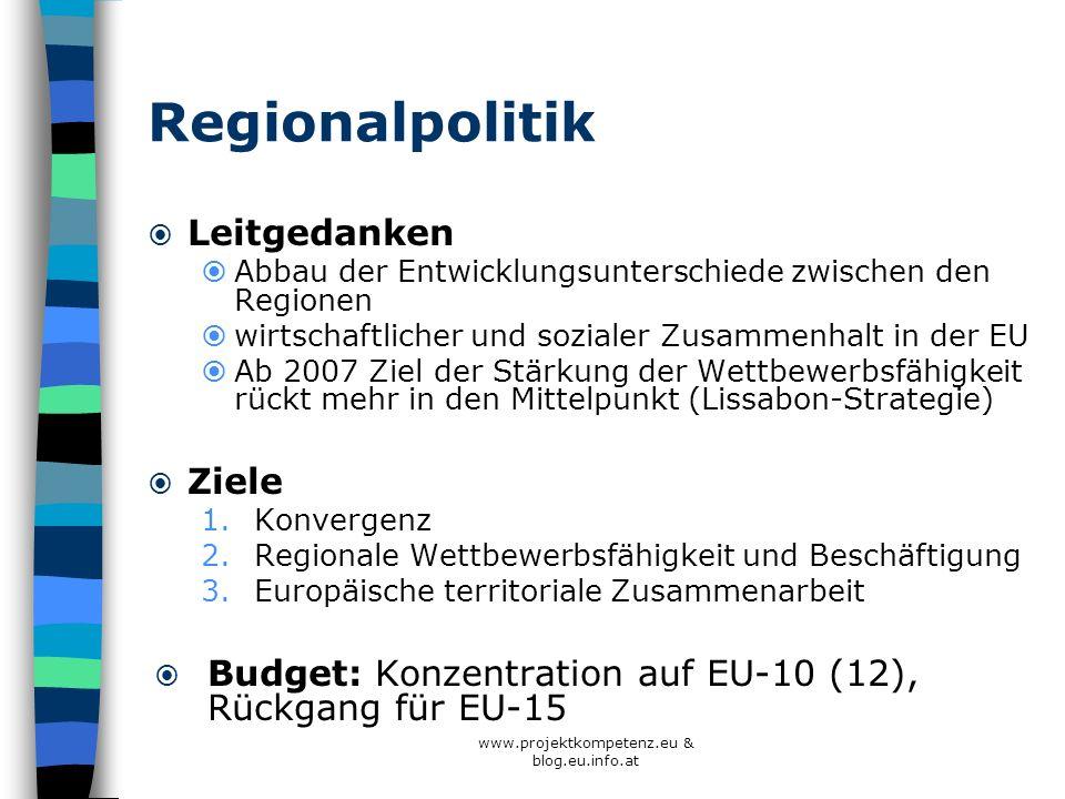 www.projektkompetenz.eu & blog.eu.info.at Regionalpolitik Leitgedanken Abbau der Entwicklungsunterschiede zwischen den Regionen wirtschaftlicher und s