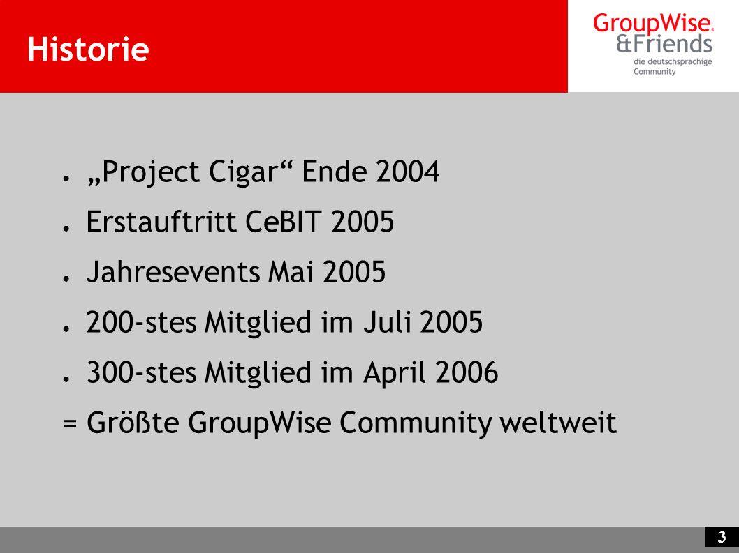 3 Historie Project Cigar Ende 2004 Erstauftritt CeBIT 2005 Jahresevents Mai 2005 200-stes Mitglied im Juli 2005 300-stes Mitglied im April 2006 = Größ