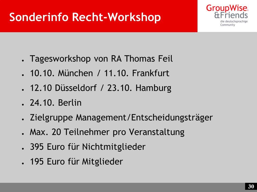 30 Sonderinfo Recht-Workshop Tagesworkshop von RA Thomas Feil 10.10. München / 11.10. Frankfurt 12.10 Düsseldorf / 23.10. Hamburg 24.10. Berlin Zielgr