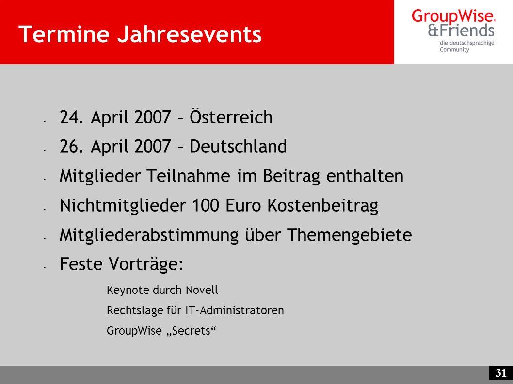 31 Termine Jahresevents - 24. April 2007 – Österreich - 26. April 2007 – Deutschland - Mitglieder Teilnahme im Beitrag enthalten - Nichtmitglieder 100