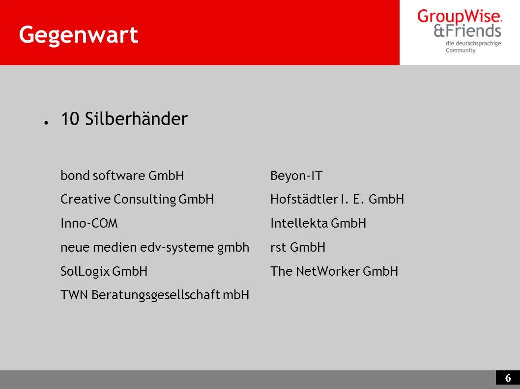 6 Gegenwart 10 Silberhänder bond software GmbHBeyon-IT Creative Consulting GmbHHofstädtler I. E. GmbH Inno-COMIntellekta GmbH neue medien edv-systeme