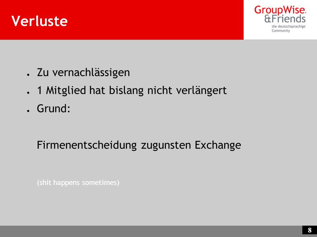 8 Verluste Zu vernachlässigen 1 Mitglied hat bislang nicht verlängert Grund: Firmenentscheidung zugunsten Exchange (shit happens sometimes)