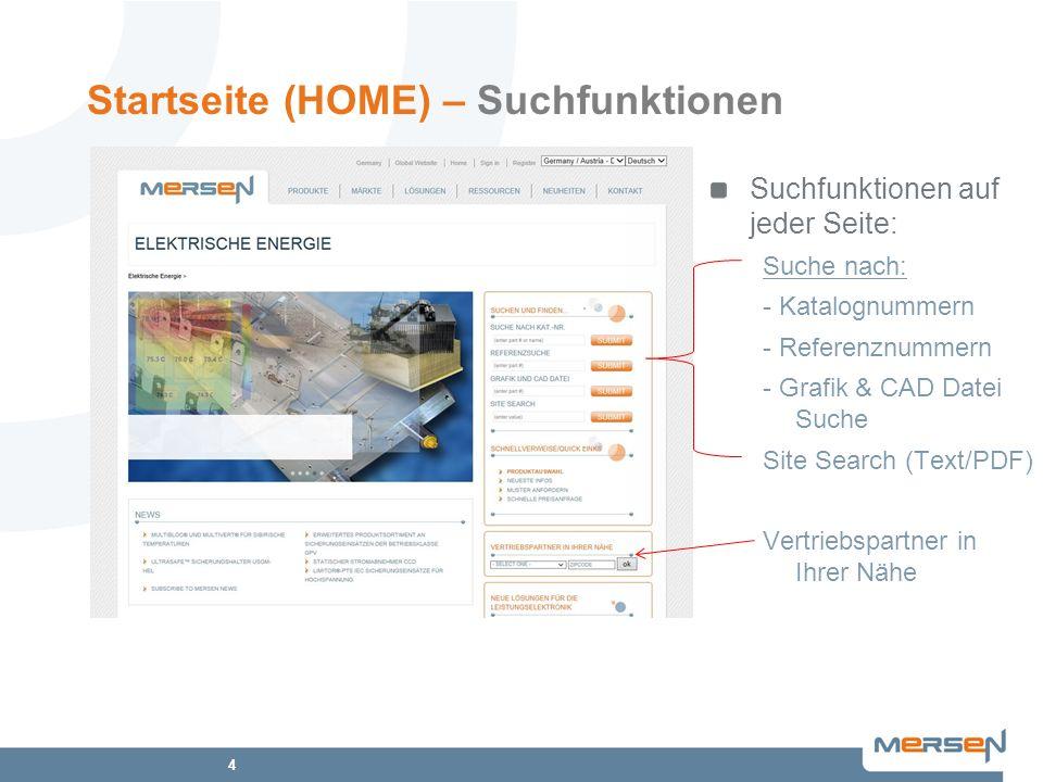 4 Startseite (HOME) – Suchfunktionen Suchfunktionen auf jeder Seite: Suche nach: - Katalognummern - Referenznummern - Grafik & CAD Datei Suche Site Se