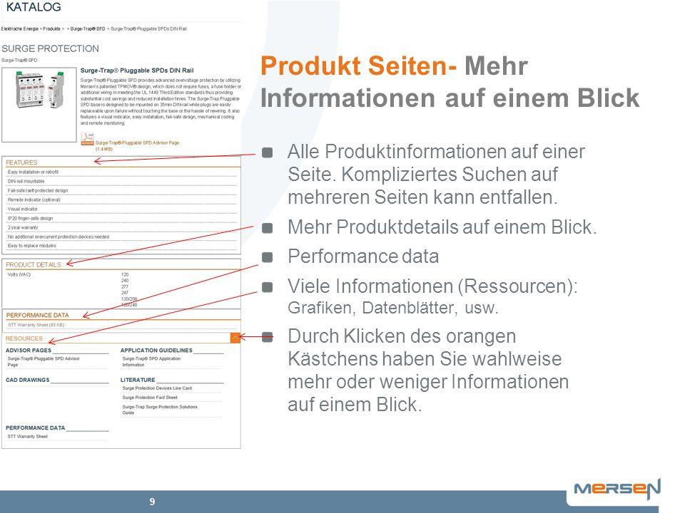 9 Produkt Seiten- Mehr Informationen auf einem Blick Alle Produktinformationen auf einer Seite. Kompliziertes Suchen auf mehreren Seiten kann entfalle
