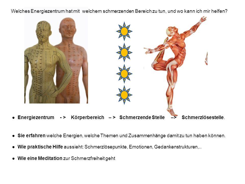 Energiezentrum - > Körperbereich – > Schmerzende Stelle –> Schmerzlösestelle. Sie erfahren welche Energien, welche Themen und Zusammenhänge damit zu t