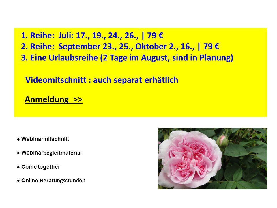 Webinarmitschnitt Webinar begleitmaterial Come together O nline Beratungsstunden 1. Reihe: Juli: 17., 19., 24., 26., | 79 2. Reihe: September 23., 25.