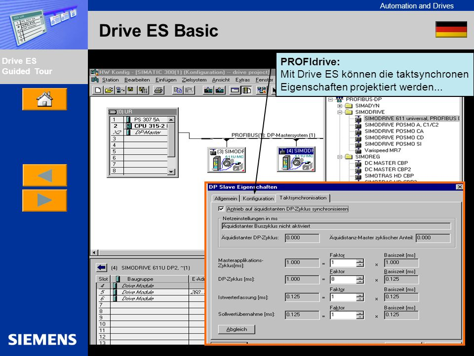 Automation and Drives Drive ES Guided Tour Intern Edition 01/02 Drive ES Basic PROFIdrive: Mit Drive ES können die taktsynchronen Eigenschaften projek