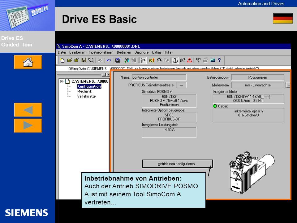 Automation and Drives Drive ES Guided Tour Intern Edition 01/02 Drive ES Basic Inbetriebnahme von Antrieben: Auch der Antrieb SIMODRIVE POSMO A ist mi
