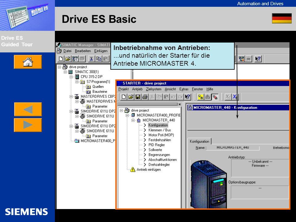 Automation and Drives Drive ES Guided Tour Intern Edition 01/02 Drive ES Basic Inbetriebnahme von Antrieben:...und natürlich der Starter für die Antri