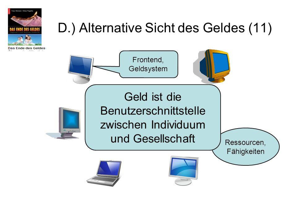 D.) Alternative Sicht des Geldes (11) Ressourcen, Fähigkeiten Frontend, Geldsystem Geld ist die Benutzerschnittstelle zwischen Individuum und Gesellsc