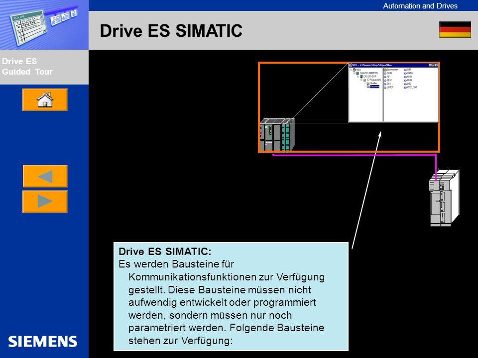 Automation and Drives Drive ES Guided Tour Intern Edition 01/02 Drive ES SIMATIC Bausteine: Zyklische Datenübertragung Azyklische Parameterübertragung Auslesen von Fehlertexten aus Antrieben(z.B.