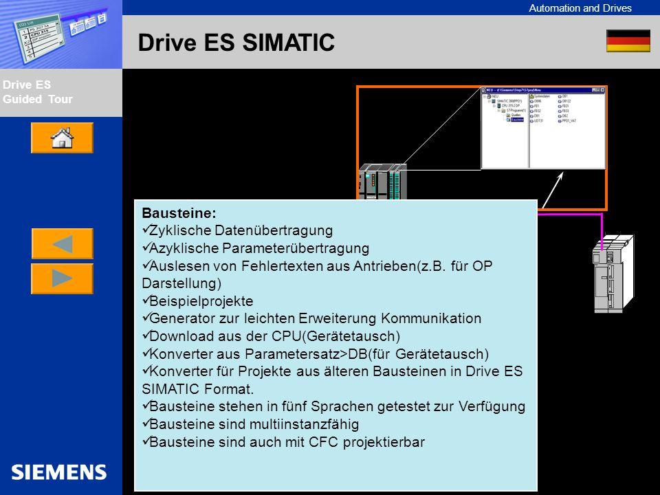 Automation and Drives Drive ES Guided Tour Intern Edition 01/02 Drive ES SIMATIC Verwendung von Beispielprojekten: So können Sie Beispielprojekte verwenden um Ihre Kommunikation zwischen CPU und Antrieben schnell zu erstellen.