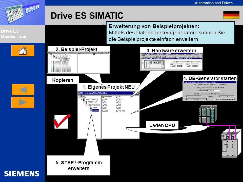 Automation and Drives Drive ES Guided Tour Intern Edition 01/02 Drive ES SIMATIC Erweiterung von Beispielprojekten: Mittels des Datenbausteingenerator