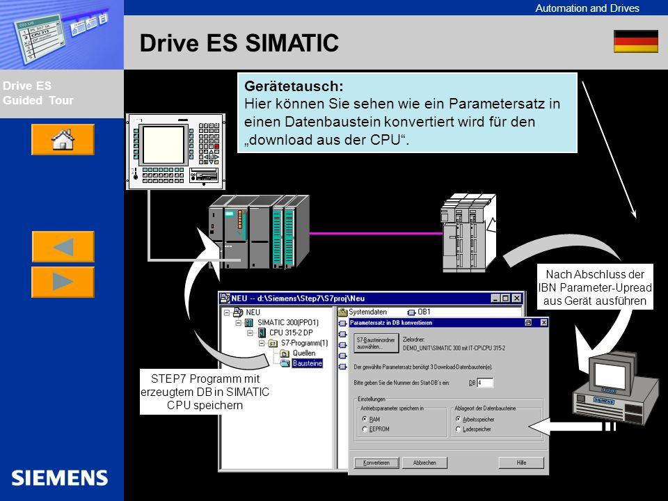 Automation and Drives Drive ES Guided Tour Intern Edition 01/02 Drive ES SIMATIC Gerätetausch: Hier können Sie sehen wie ein Parametersatz in einen Da