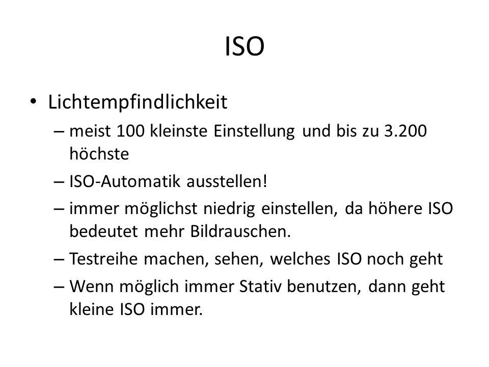 ISO Lichtempfindlichkeit – meist 100 kleinste Einstellung und bis zu 3.200 höchste – ISO-Automatik ausstellen! – immer möglichst niedrig einstellen, d