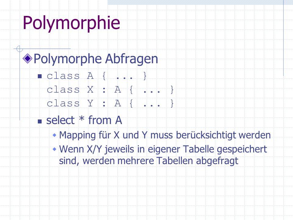 Polymorphie Polymorphe Abfragen class A {... } class X : A {... } class Y : A {... } select * from A Mapping für X und Y muss berücksichtigt werden We