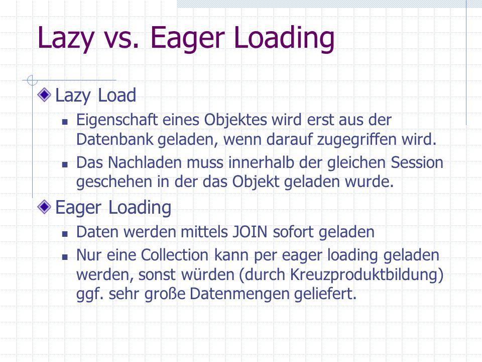 Lazy vs. Eager Loading Lazy Load Eigenschaft eines Objektes wird erst aus der Datenbank geladen, wenn darauf zugegriffen wird. Das Nachladen muss inne