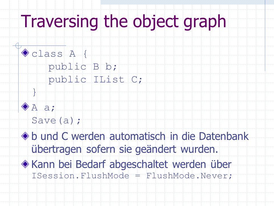 Traversing the object graph class A { public B b; public IList C; } A a; Save(a); b und C werden automatisch in die Datenbank übertragen sofern sie ge