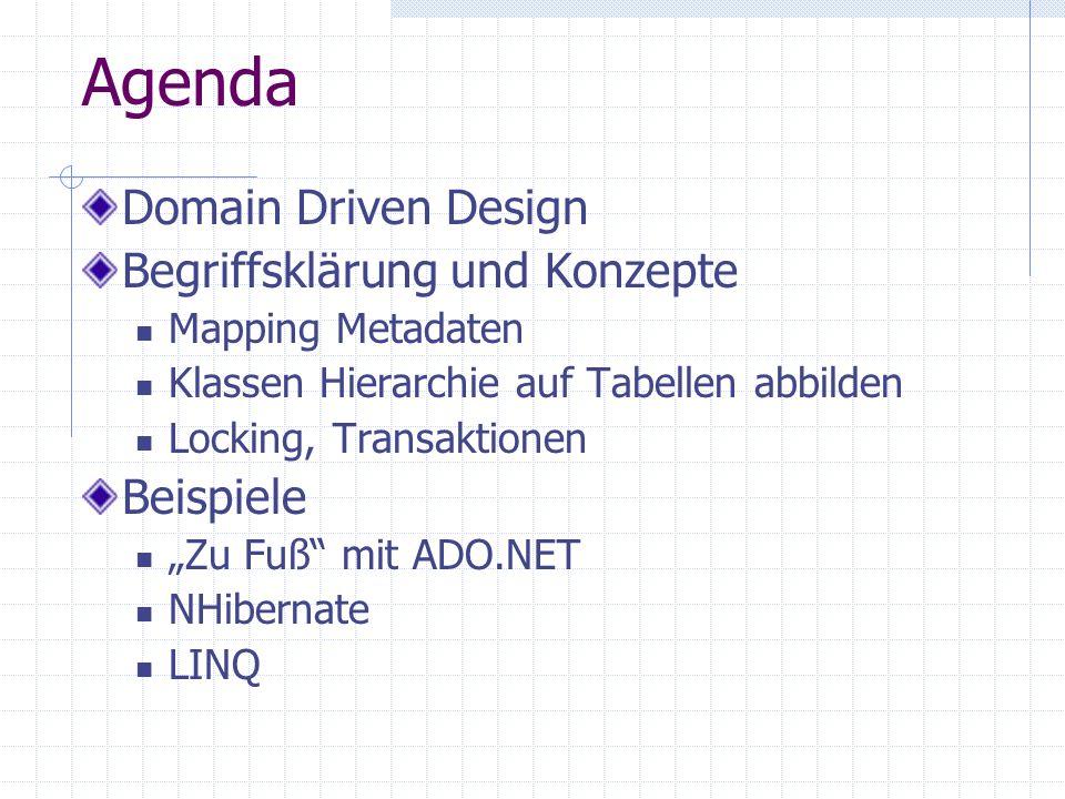 Agenda Domain Driven Design Begriffsklärung und Konzepte Mapping Metadaten Klassen Hierarchie auf Tabellen abbilden Locking, Transaktionen Beispiele Z