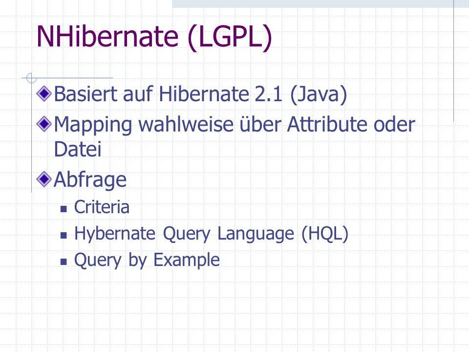 NHibernate (LGPL) Basiert auf Hibernate 2.1 (Java) Mapping wahlweise über Attribute oder Datei Abfrage Criteria Hybernate Query Language (HQL) Query b