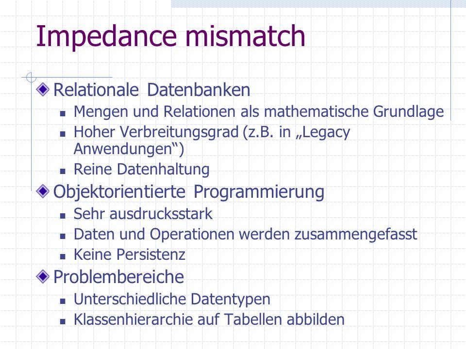 Impedance mismatch Relationale Datenbanken Mengen und Relationen als mathematische Grundlage Hoher Verbreitungsgrad (z.B. in Legacy Anwendungen) Reine