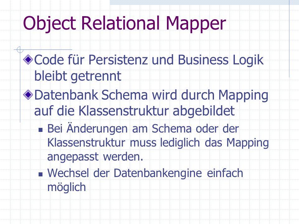 Object Relational Mapper Code für Persistenz und Business Logik bleibt getrennt Datenbank Schema wird durch Mapping auf die Klassenstruktur abgebildet