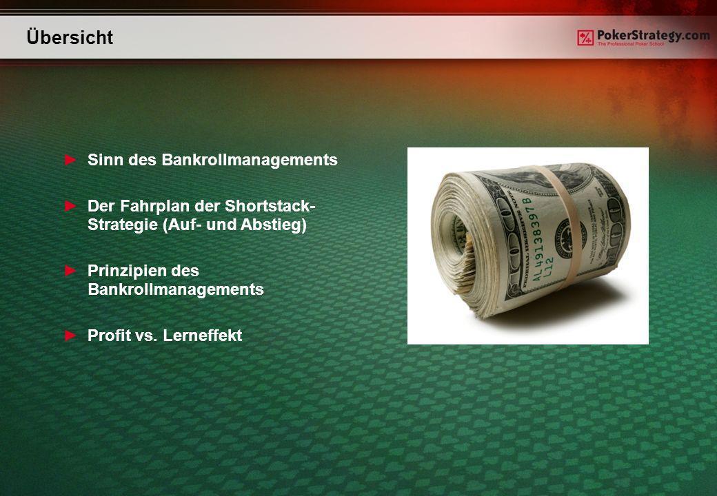 Übersicht Sinn des Bankrollmanagements Der Fahrplan der Shortstack- Strategie (Auf- und Abstieg) Prinzipien des Bankrollmanagements Profit vs.