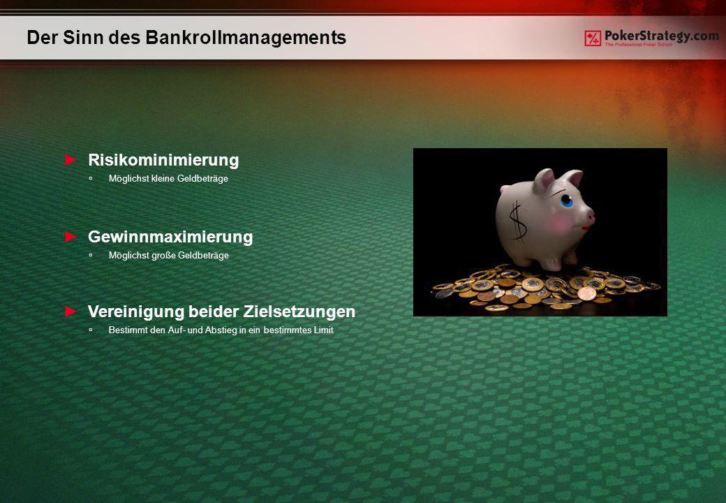 Der Sinn des Bankrollmanagements Risikominimierung Möglichst kleine Geldbeträge Gewinnmaximierung Möglichst große Geldbeträge Vereinigung beider Zielsetzungen Bestimmt den Auf- und Abstieg in ein bestimmtes Limit