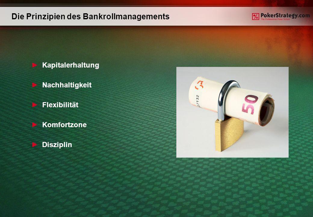 Die Prinzipien des Bankrollmanagements Kapitalerhaltung Nachhaltigkeit Flexibilität Komfortzone Disziplin