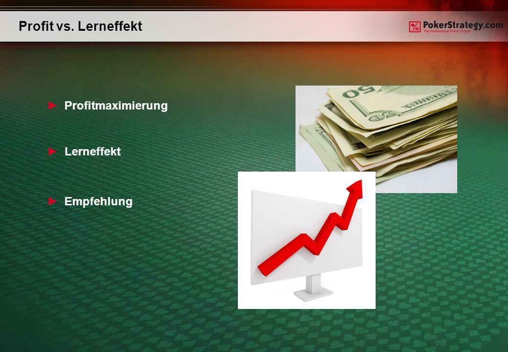 Profit vs. Lerneffekt Profitmaximierung Lerneffekt Empfehlung