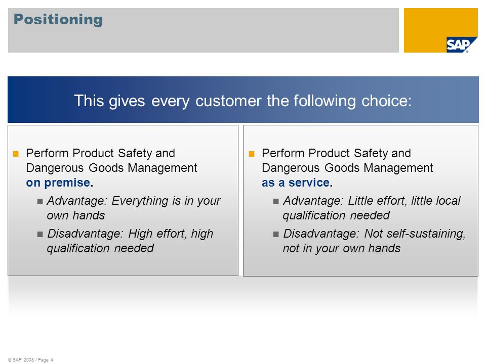 © SAP 2008 / Page 4 Positioning Perform Product Safety and Dangerous Goods Management as a service.