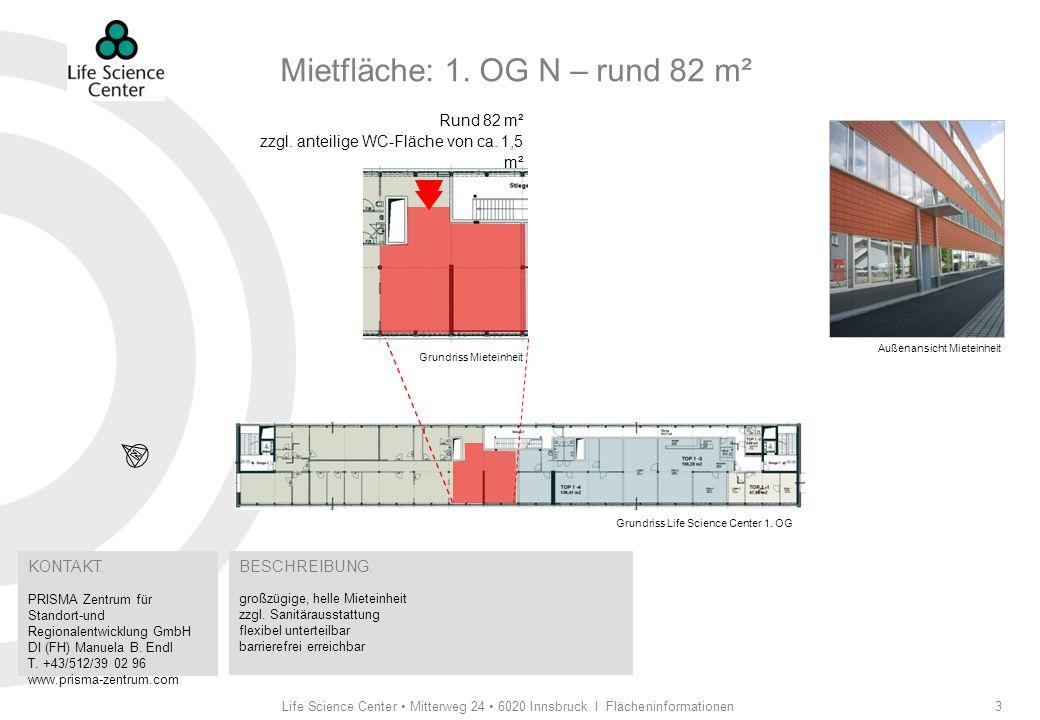 Life Science Center Mitterweg 24 6020 Innsbruck I Flächeninformationen4 Bau- und Ausstattungsbeschreibung Allgemein flexibel nutzbare Büro- und Laboreinheiten Raumhöhen von bis zu 3,3 m möglich Vorhalten von Reserven in den Installationsschächten für mieterspezifische Zusatzausstattungen Anschlussmöglichkeit für Kleinküchen im Mietobjekt Steckdosen pro Arbeitsplatz: 1 Doppelsteckdose sowie 1 Doppelsteckdose getrennt schaltbar mit eigenem FI-Schutzschalter (1 EDV-Stromkreis) Anschlussmöglichkeit für Telefon, ISDN und Internet in der Mieteinheit Laborflächen abgehängte Decke Fußboden mit Doppelboden und antistatischem Kunststoffbelag zentrales mechanisches Lüftungssystem für alle Laborflächen mit Zuluft (0,5- facher Luftwechsel) und Sonderabluft nach Vereinbarung Grundlüftung für innen liegende Labornebenräume durchgehendes, individuell regulierbares Kühl-, Heizsystem mittels Umluftklimageräten (je ca.