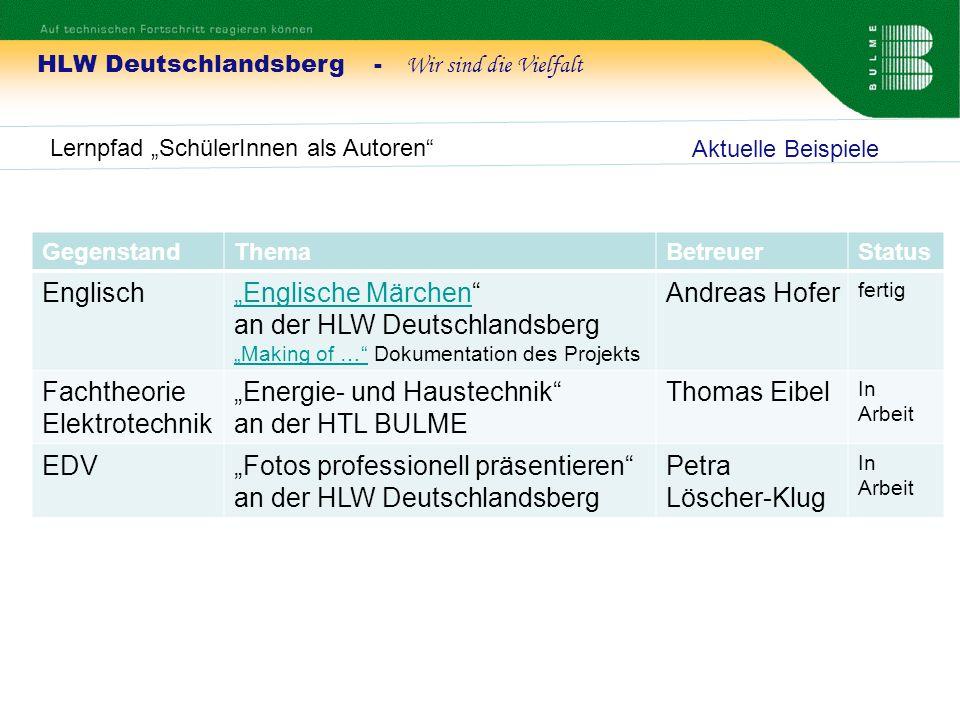 HLW Deutschlandsberg - Wir sind die Vielfalt Lernpfad SchülerInnen als Autoren Aktuelle Beispiele GegenstandThemaBetreuerStatus EnglischEnglische Märc