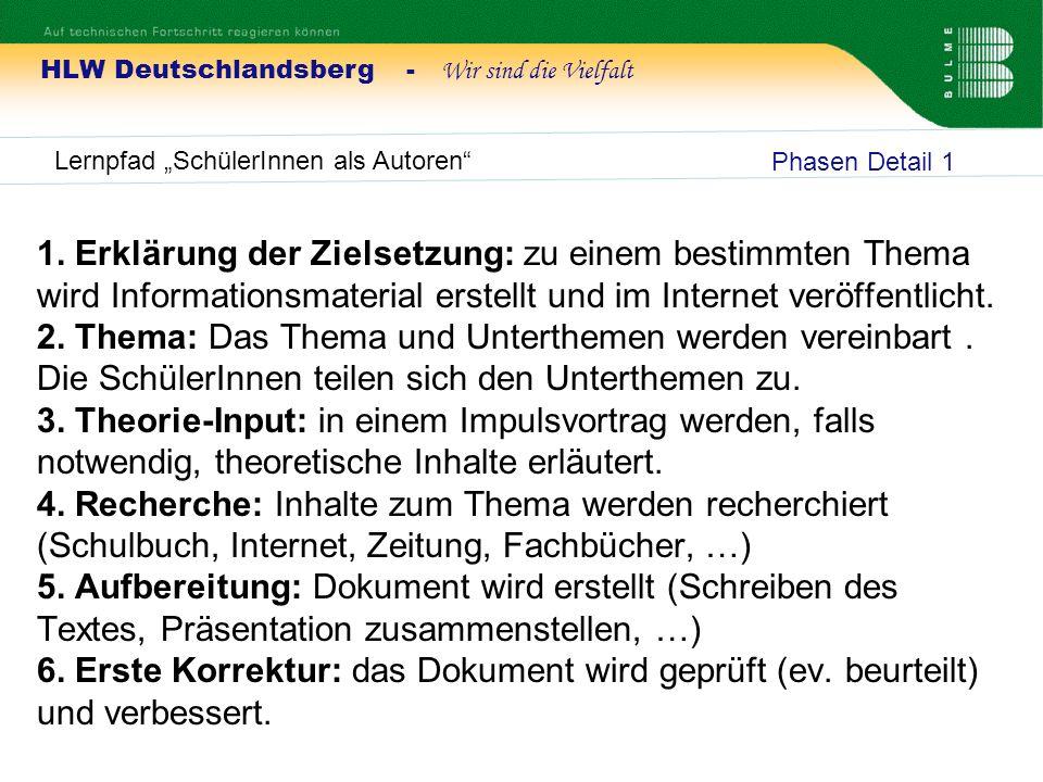 HLW Deutschlandsberg - Wir sind die Vielfalt Lernpfad SchülerInnen als Autoren 1. Erklärung der Zielsetzung: zu einem bestimmten Thema wird Informatio