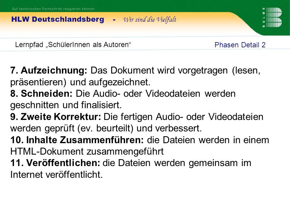 HLW Deutschlandsberg - Wir sind die Vielfalt Lernpfad SchülerInnen als Autoren 7. Aufzeichnung: Das Dokument wird vorgetragen (lesen, präsentieren) un
