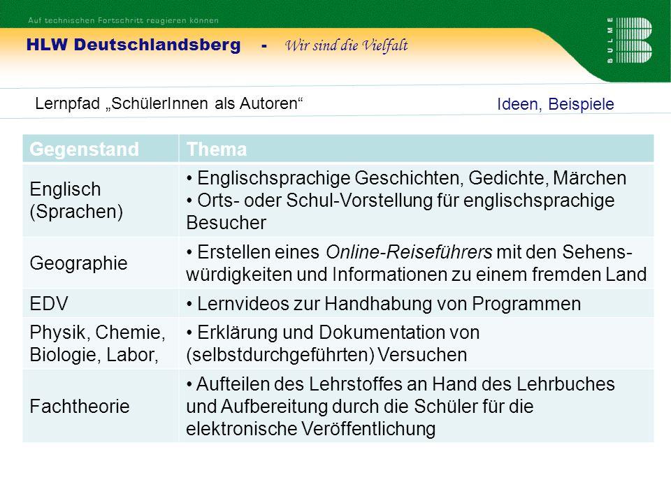 HLW Deutschlandsberg - Wir sind die Vielfalt Lernpfad SchülerInnen als Autoren Ideen, Beispiele GegenstandThema Englisch (Sprachen) Englischsprachige