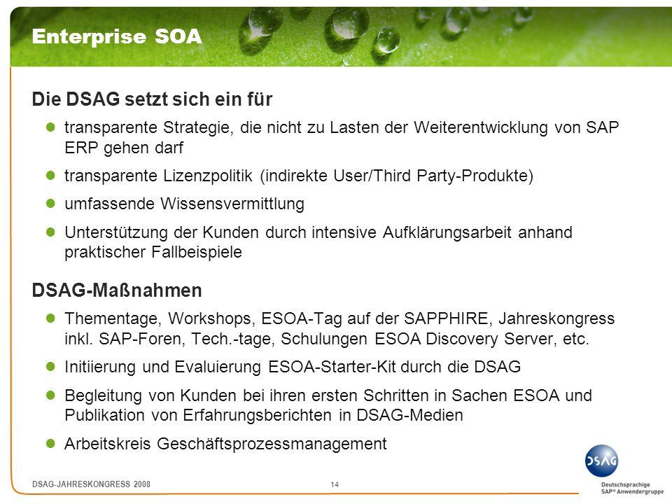 15 DSAG-JAHRESKONGRESS 2008 SAP Business ByDesign Die DSAG setzt sich ein für Umsetzung typischer mittelständischer Anforderungen schnelle Implementierung, einfache Benutzerführung, bedarfsgerechte Funktionalität eine klare Aussage ob BbD langfristig als Nachfolgeprodukt von SAP ERP positioniert wird welche Auswirkungen hat BbD für R/3 bzw.