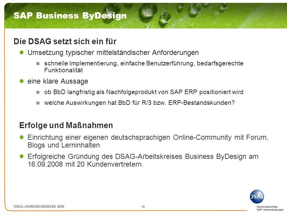 15 DSAG-JAHRESKONGRESS 2008 SAP Business ByDesign Die DSAG setzt sich ein für Umsetzung typischer mittelständischer Anforderungen schnelle Implementie