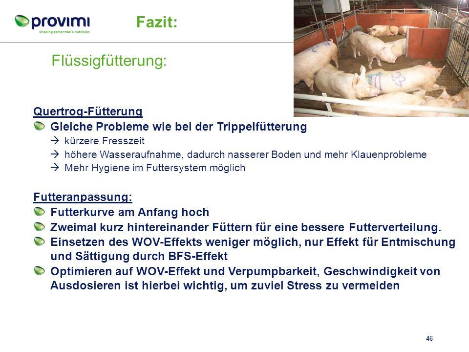 Flüssigfütterung: 45 Fazit: Abruffütterung Gleiche Probleme wie bei der normalen Abruffütterung kürzere Fresszeit höhere Wasseraufnahme, dadurch nasse